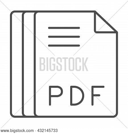 Paper Sheets, Pdf File Thin Line Icon, Documents Concept, Portable Document Format Vector Sign On Wh