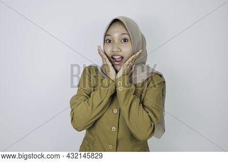 Shock Government Worker Women Looking Into Camera. Pns Wearing Khaki Uniform.