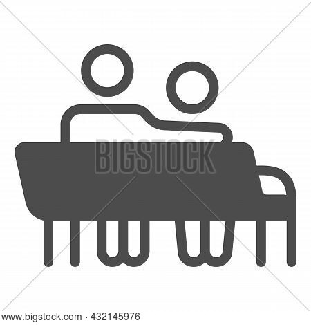Couple Sit On Bench Solid Icon, Love And Relationship Concept, Man And Woman On Bench Vector Sign On