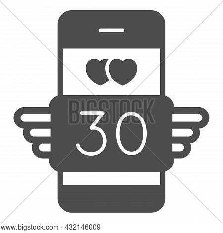 Winged Love Message 30 In Smartphone Solid Icon, Love And Dating Concept, Text Thirty Vector Sign On