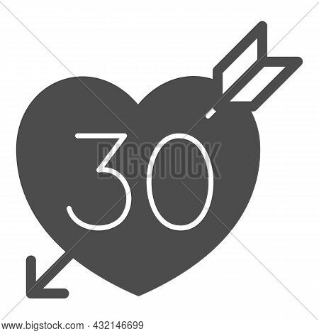 Number 30 In Heart Pierced By Arrow Solid Icon, Love And Relationship Concept, Thirty Vector Sign On