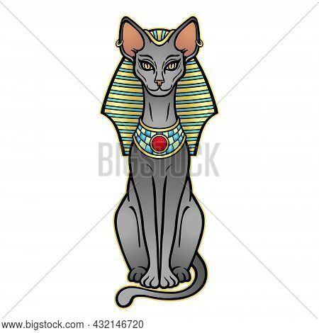 Animation Color Portrait Ancient Egyptian Goddess Bastet (bast) In The Royal Headdress. Sacred Cat.