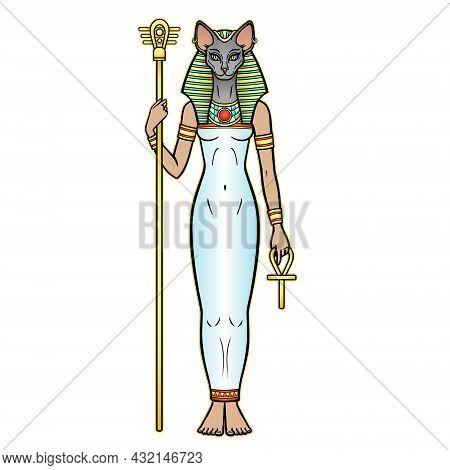 Animation Portrait Ancient Egyptian Goddess Bastet (bast) Holds Symbols Of Power: Staff And Cross. S