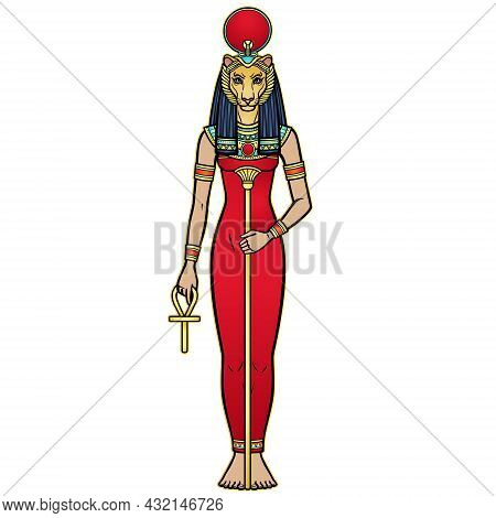 Animation Portrait Ancient Egyptian Goddess Sehmet (tefnut) Holds Symbols Of Power: Staff And Cross.