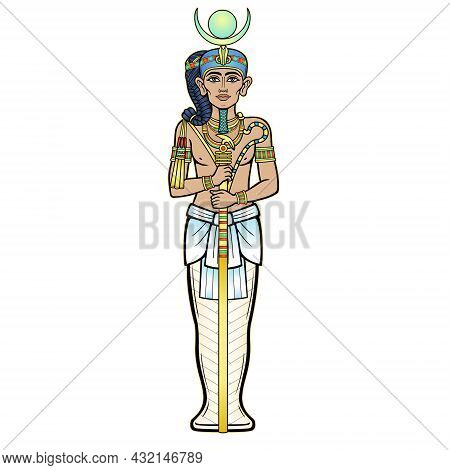 Animation Color Portrait  Egyptian God Honsu. God Of The Moon, Of Time, A Young Man A Wanderer With