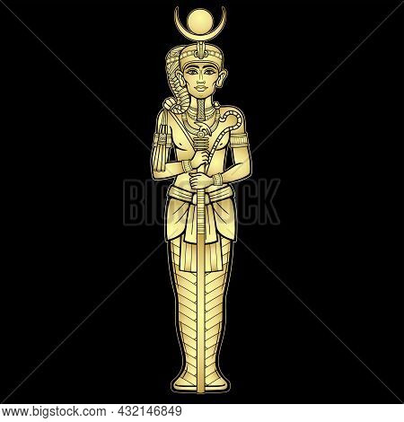 Animation  Portrait  Egyptian God Honsu. God Of The Moon, Of Time, A Young Man A Wanderer With A Cur