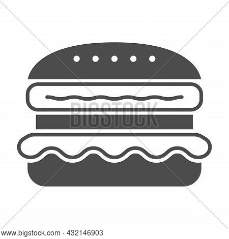 French Burger Solid Icon, Fast Food Concept, Cheeseburger Vector Sign On White Background, Glyph Sty
