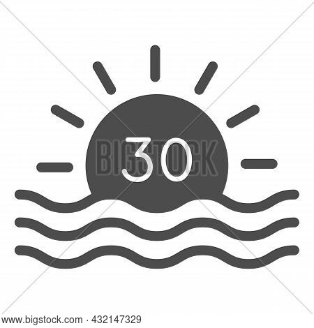 Sun With Number 30 And Sea Sunrise Solid Icon, Love And Relationship Concept, Thirty Vector Sign On