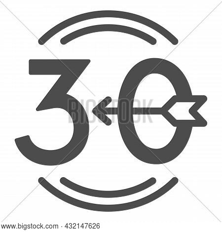 Arrow Number 30 And Circle Solid Icon, Love And Relationship Concept, Emblem Thirty Vector Sign On W