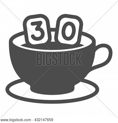 Cup Of Coffee On Saucer And Number 30 Solid Icon, Anniversary Concept, Thirty In Mug Vector Sign On