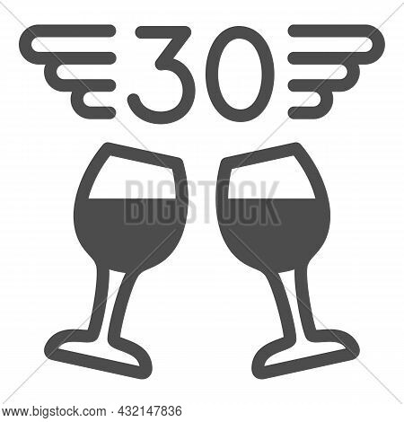 Two Wine Glasses And Number 30 With Wings Solid Icon, Anniversary Concept, Thirty Vector Sign On Whi