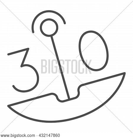 30 On Swing Thin Line Icon, Dating And Relationship Concept, Thirty On Carousel Vector Sign On White