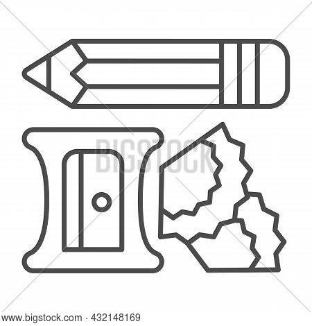 Pencil, Sharpener And Shavings Thin Line Icon, Office Supplies Concept, Writing Implements Vector Si