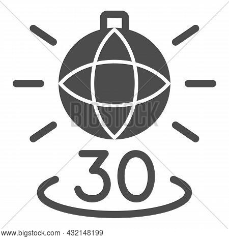 Disko Ball Shining And Number 30 Solid Icon, Anniversary Concept, Party Over Thirty Vector Sign On W