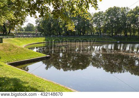 St. Petersburg, Russia - July 09, 2021: Karpiev Pond, Lake In The Summer Garden Of St. Petersburg