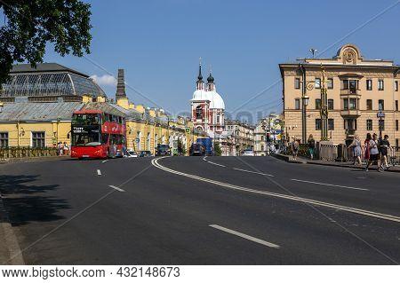 St. Petersburg, Russia - July 09, 2021: View On Pestel Street From Panteleimon Bridge In St. Petersb