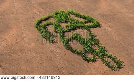 Concept conceptual green summer lawn grass symbol shape on brown soil or earth background, a runner image. 3d illustration metaphor for athlete, sprinter, marathon, competition, exercise and  health