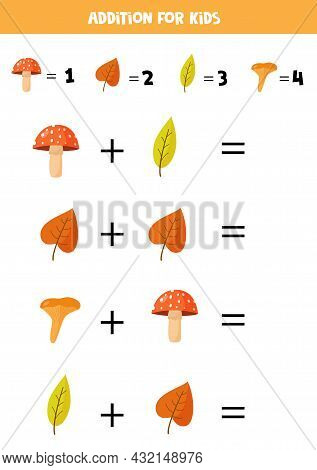 Addition With Different Mushrooms And Leaves. Educational Math Game For Kids.