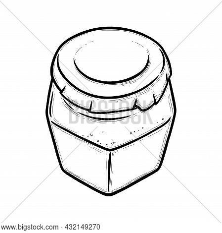 Glass Jar Sketch. Hexagonal Empty Jar For Preserves Of Pickles, Honey Or Jam. Hand Drawn Vector Illu