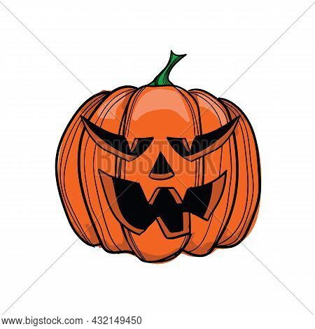 Vector Illustration Jack-o-lantern With Four Fangs, Can Be Used As Halloween Decoration