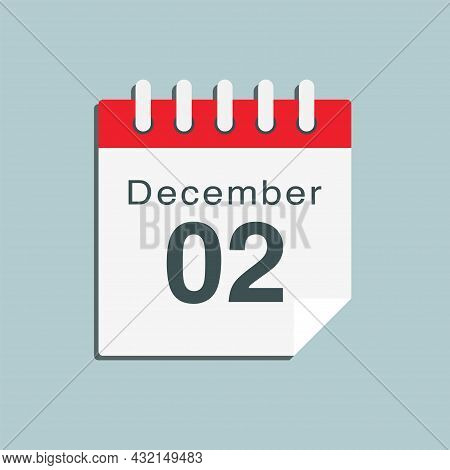 Icon Day Date 2 December, Template Calendar Page