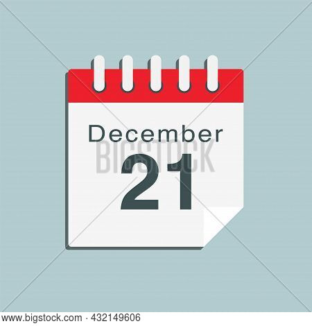 Icon Day Date 21 December, Template Calendar Page