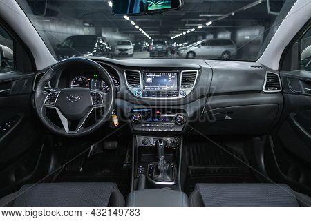 Novosibirsk, Russia - July 16, 2021: Hyundai Tucson, Steering Wheel, Shift Lever, Multimedia  System