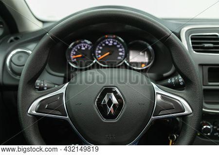 Novosibirsk, Russia - July 01, 2021: Renault Sandero, Cockpit Interior Cabin Details, Speedometer An