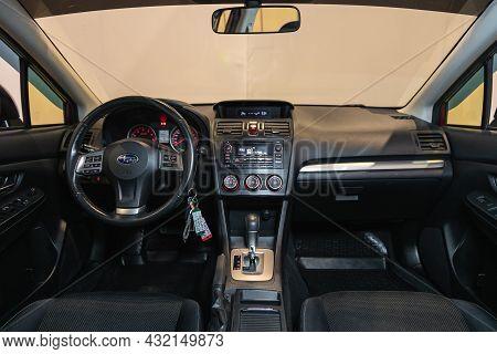 Novosibirsk, Russia - August 28, 2021: Impreza Xv, Steering Wheel, Shift Lever, Multimedia  Systeme,