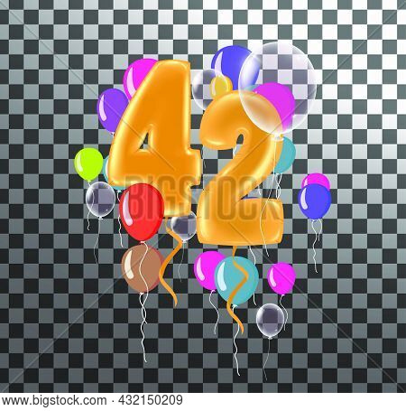 Happy Birthday Forty Two Year, Fun Celebration Anniversary Greeting Card With Number, Balloon On Bac