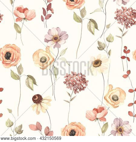 Floral autumn seamless pattern with flowers on stems. Watercolor print on ivory background in vintage style and pastel colors.