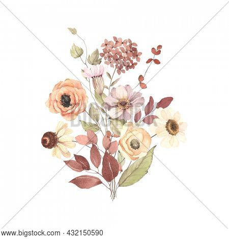 Autumn bouquet with delicate flowers and leaves, watercolor floral print isolated on white background in vintage style and pastel colors, decor for invitation or greeting card.