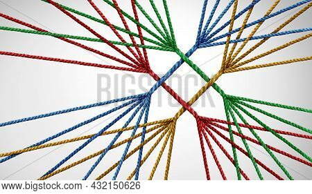 Converge Together And Business Teams Success Connecting With Unity Teamwork As A Concept Or Metaphor