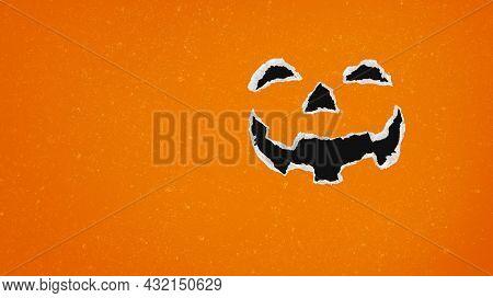 Jack-o-lantern Background And Halloween Holiday Pumpkin As A Fall Or Autumn Seasonal Symbol As A Car