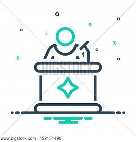 Mix Icon For Spokesman Lecturer Speaker Orator Spokesman Mouther Podium Negotiator Conference Repres