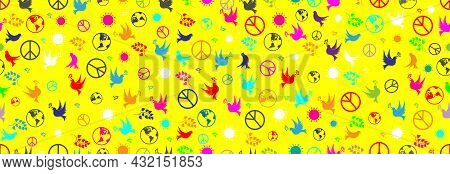 Day Of Peace, Dove, Sun, Olive Branch And Earth. International Day Of Peace, Seamless Pattern On A B