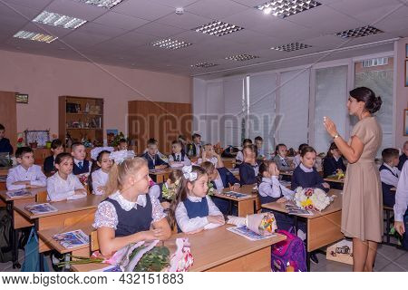 Korolev, Russia - September 1, 2021. Knowledge Day. September 1. Beautiful And Elegant Elementary Sc