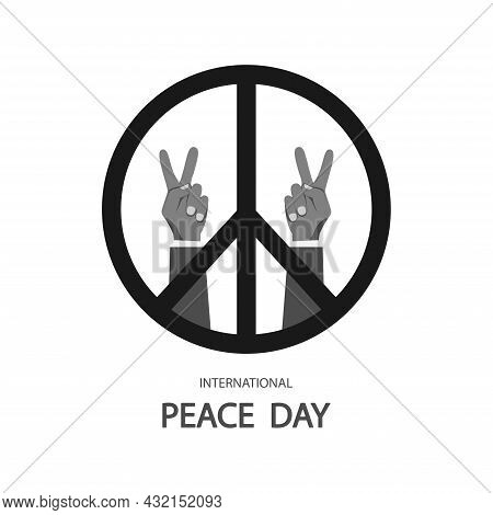 Hand And Peace Symbol, Hand Gesture And Peace Icon In Black.