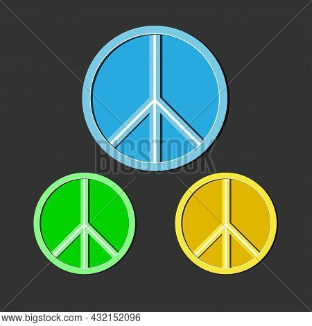 Peace Icon In Different Colors On A Dark Background. Day Of Peace.