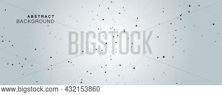 Vector Background Lines Design. Abstract Polygonal With Connecting Dots And Lines. Connection Scienc
