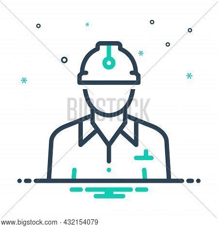 Mix Icon For Civil Civilian Citizen Denizen Worker Construction Contractor Helmet Employee Manager I
