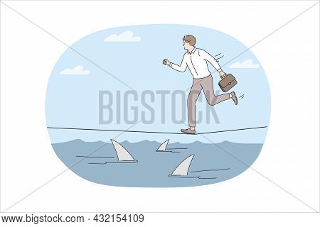 Business Risks And Challenge Concept. Young Stressed Businessman Running On Rope Over Sea Full Of Da