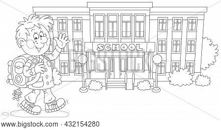 Cheerful Schoolboy With His Backpack Going To School, Black And White Outline Vector Cartoon Illustr
