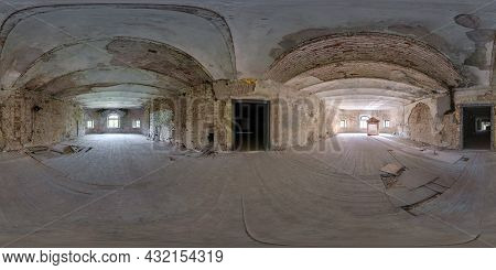 360 Seamless Hdri Panorama View Inside Empty Hall Of Abandoned House With Concrete Bricks Walls In E