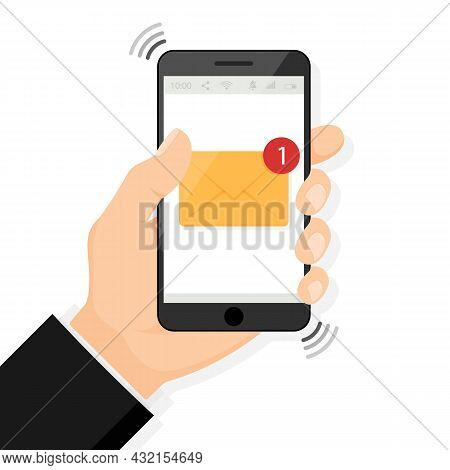 Hand Holding Smartphone With New Email Notification On Mobile Phone Vector Illustration, Smartphone