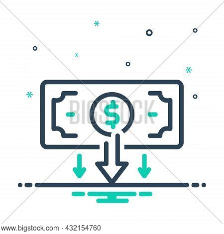 Mix Icon For Low Little Below Reduced Level Low-level  Price Currency Economy