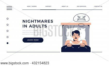 Nightmares In Adults Homepage Template. Frightened Man Character Has A Bad Dream, Is Scared Of Monst