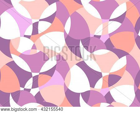 Ornament Made Of Colored Circles. Background Template With Pink Rounded Shapes. Vector Design For Yo