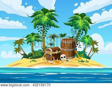 Treasure Tropical Island, Ancient Pirate Treasure Chest, Barrel, Scull, Exotic Plants, Palms, Sea, O