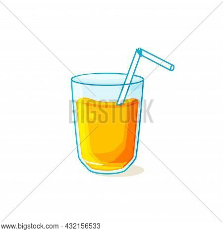 A Glass With Fresh Orange Juice On A White Isolated Background. Orange Liquid. Vector Cartoon Illust